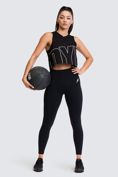 Icon Cropped Muscle Tank - Jet Black