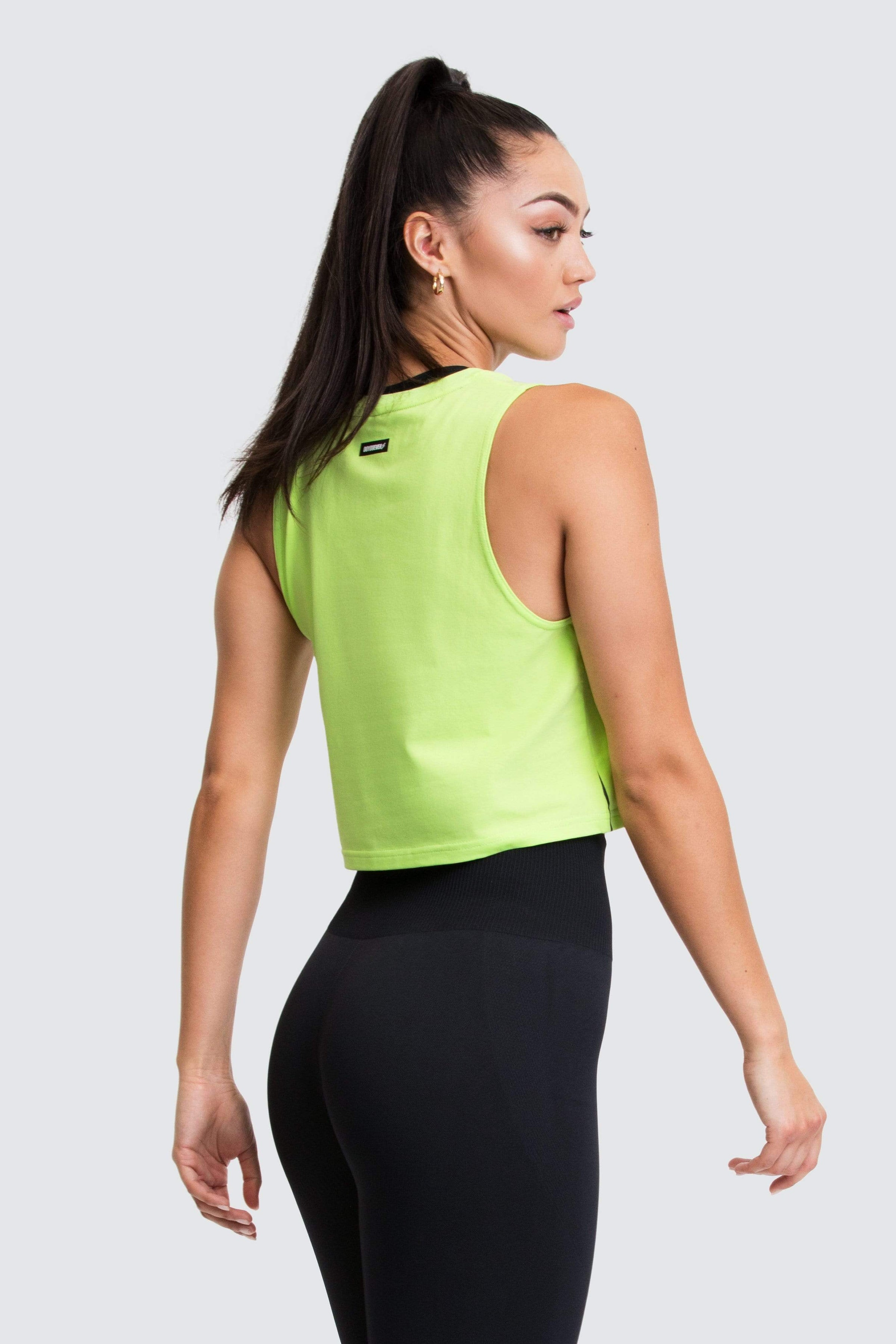Icon Cropped Muscle Tank - Lime Green