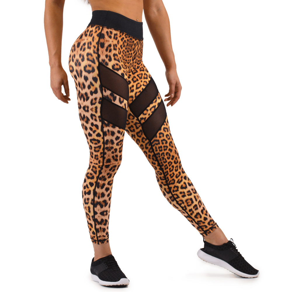 MESH PANEL LEGGINGS - Leopard