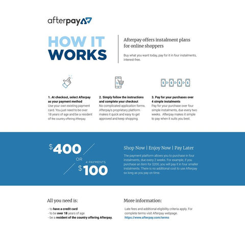 How Afterpay Works | Afterpay Merchant Kids Mega Mart