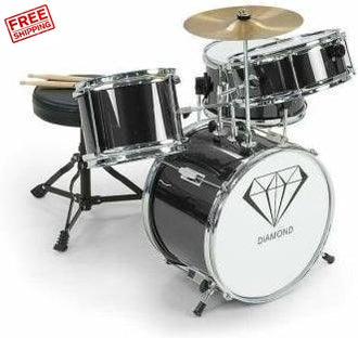 Children's 4 Piece Drum Kit Black