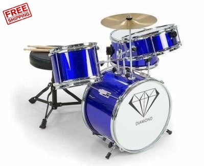 Children's 4 Piece Drum Kit Blue