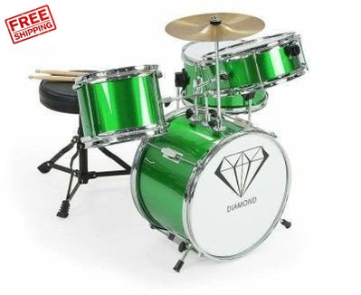 Children's 4 Piece Drum Kit Green