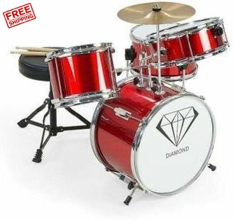 Children's 4 Piece Drum Kit Red