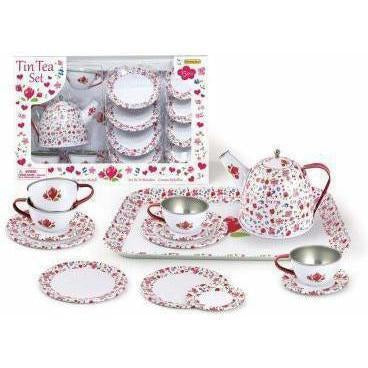 Buy Kids White Flower Tin Tea Set | Australia Delivery at Kids Mega Mart