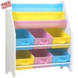 Keezi Kids Bookshelf Toy Storage Organizer Bookcase 2 Tiers Furniture
