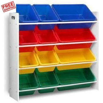 Furniture Keezi Kids 12 Plastic Bins Toy Box Storage Cabinet