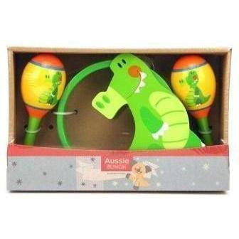 Buy Kids Toy Crocodile Maraca and Tambourine Musical Instrument Set Australia Delivery