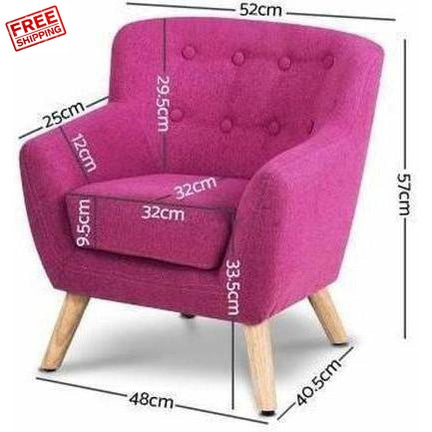Keezi Kids Fabric Armchair Pink Measurements