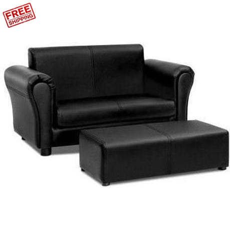 Furniture Artiss Kids Double Sofa and Footstool Set Black