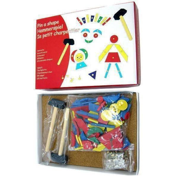 Toy Tap a Shape set with Wooden Pieces, Hammer, Nails. Buy at Kids Mega Mart for Australia Delivery