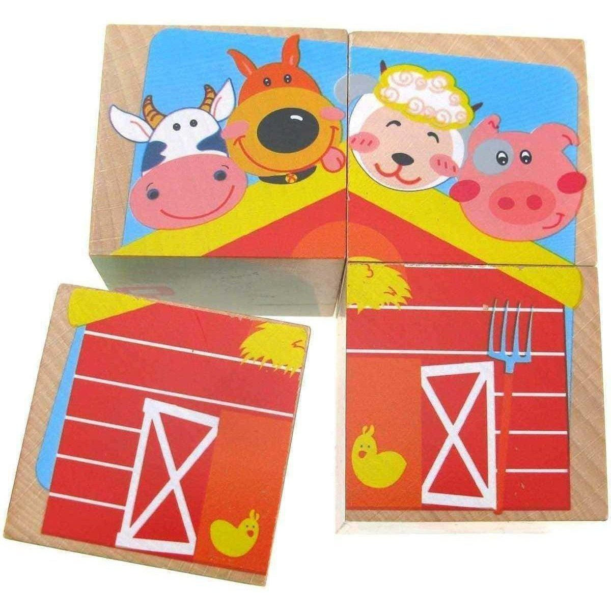 Wooden Cube Farm Puzzle 4Pcs