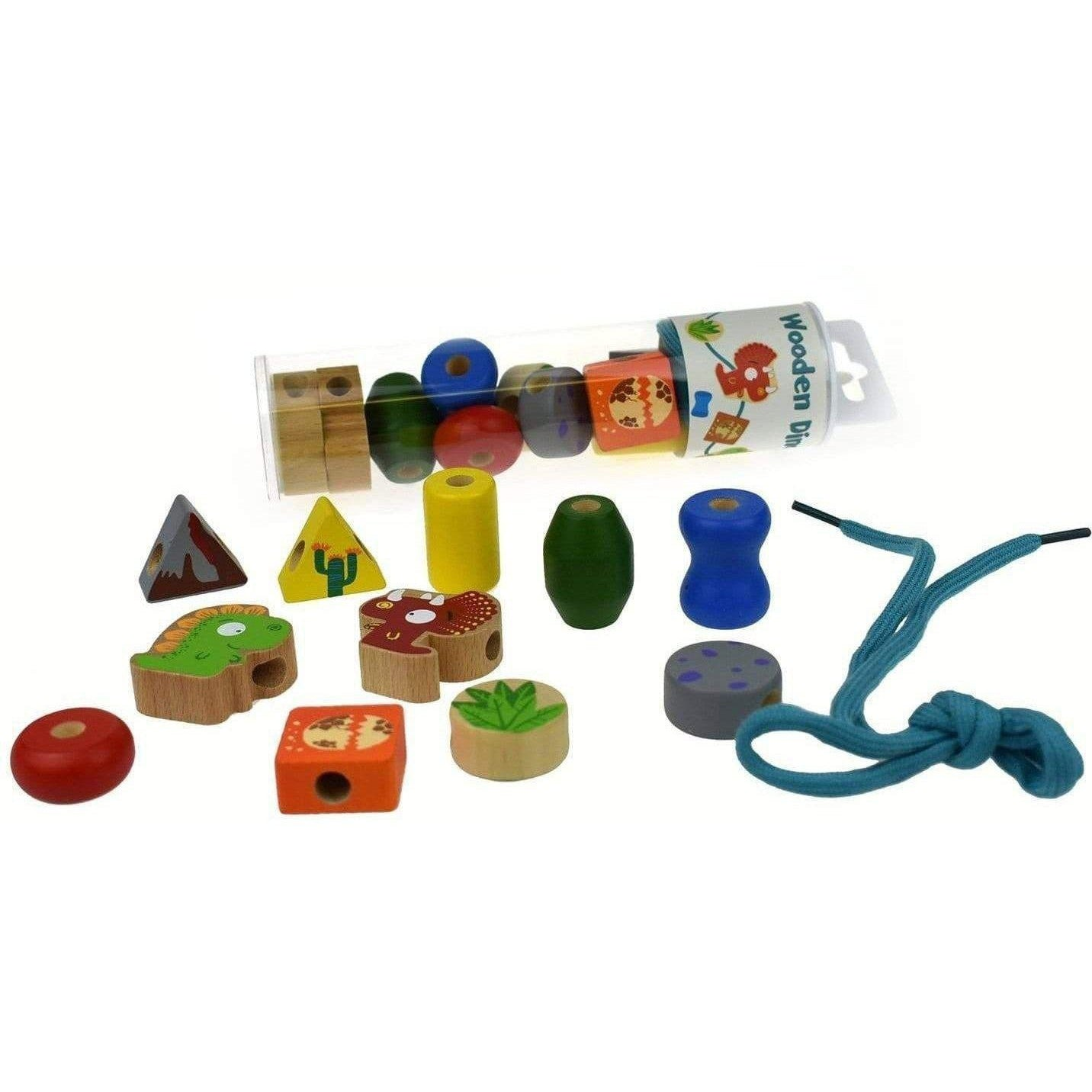 Dinosaur Lacing Bead Set Wooden Toy for Kids