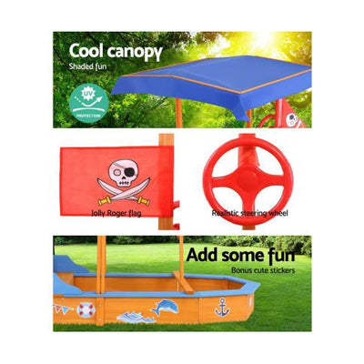 Keezi Boat Shaped Canopy Sand Pit Outdoor Toys