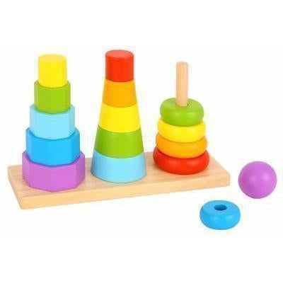 Buy Shape Tower Wooden Stacking Block Set Australia Delivery