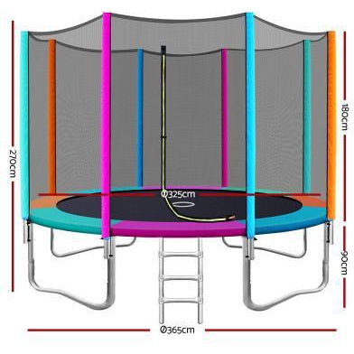 12FT Trampoline Multi-coloured