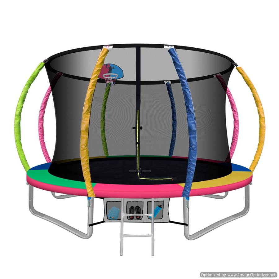 10FT Trampoline With Basketball Hoop Multi-coloured