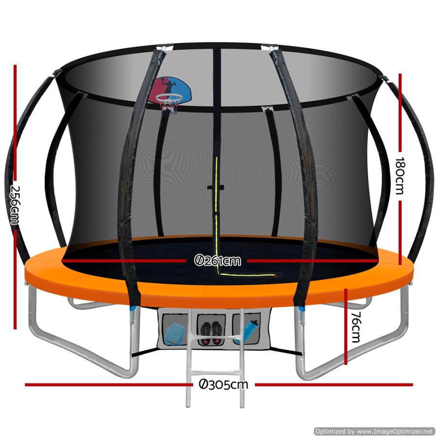Everfit 10FT Trampoline With Basketball Hoop Orange