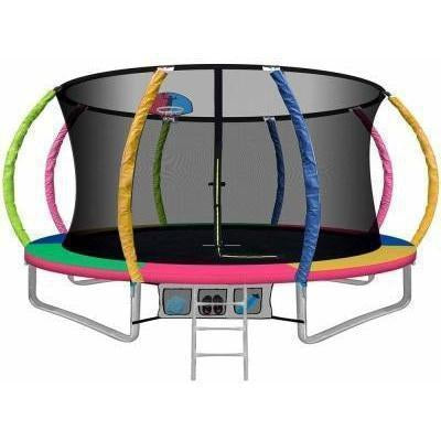 12FT Trampoline Round With Basketball Hoop Multi Australia