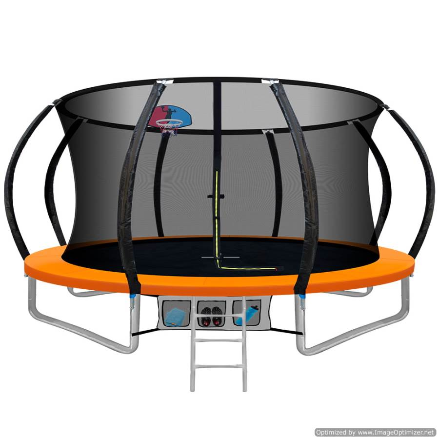 12FT Trampoline With Basketball Hoop Orange