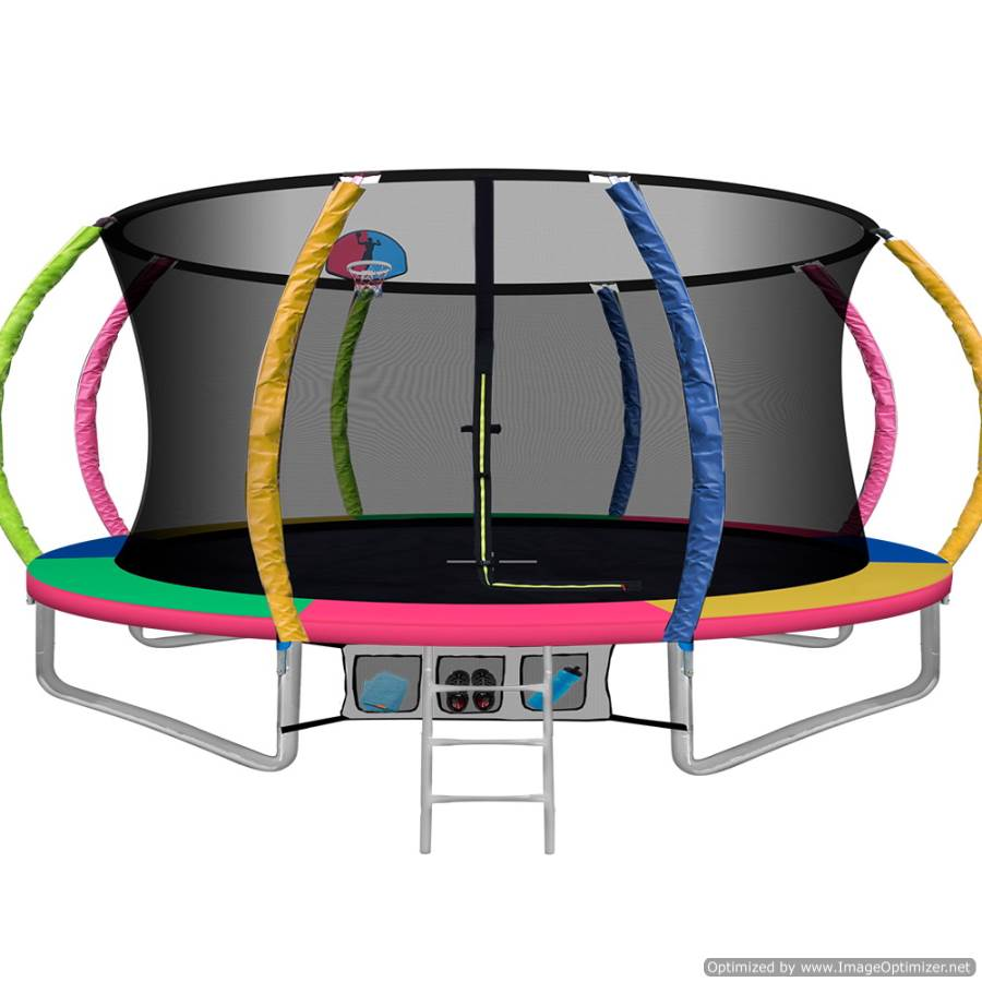 14FT Trampoline With Basketball Hoop Multi-coloured