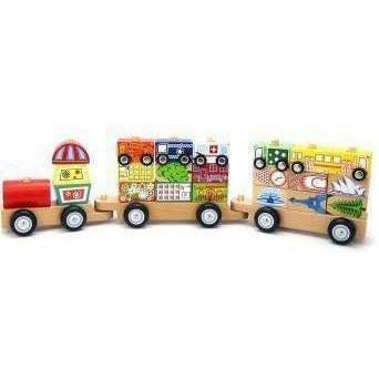 City Wooden Block Train with Cars