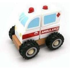 Wooden Block Ambulance with Rubber Wheels