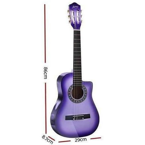 Alpha 34 Inch Guitar Acoustic 1/2 Size  Purple