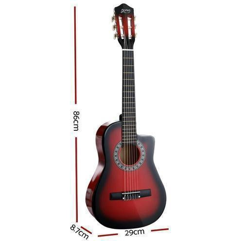 Alpha 34 Inch Guitar Acoustic 1/2 Size Red