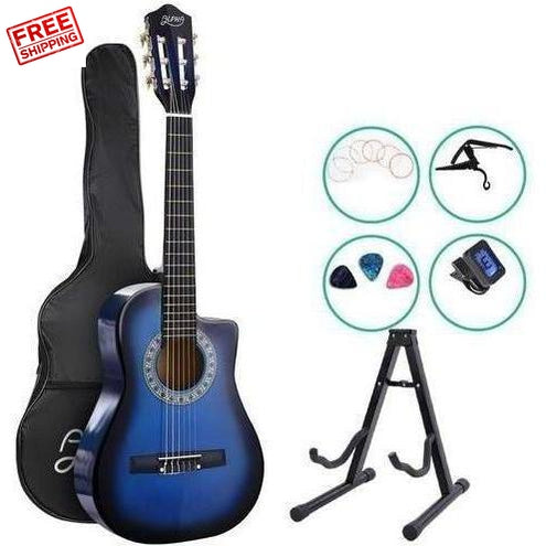 Alpha 34 Inch Guitar Acoustic Kids 1/2 Size Blue with Capo Tuner