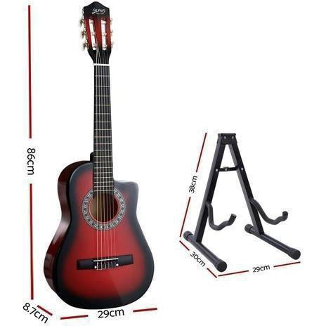 Alpha 34 Inch Guitar Acoustic Kids 1/2 Size Red with Capo Tuner