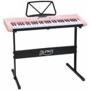Alpha 61 Key Lighted Electronic Piano Keyboard Pink