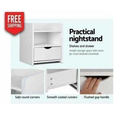 Furniture Artiss Bedside Table Drawer - White