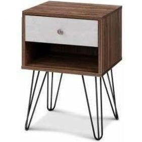 Furniture Artiss Bedside Table with Drawer Grey & Walnut
