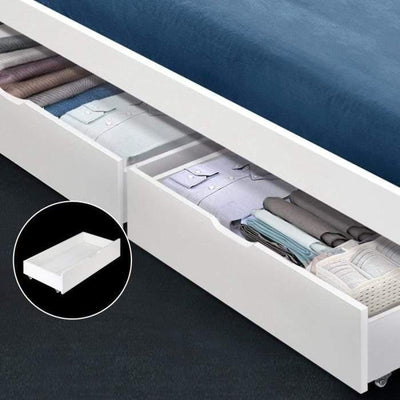 Furniture Artiss Set of 2 Single Size Wooden Trundle Drawers - White