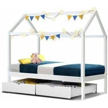 Furniture Bali Wooden Kids House Bed Frame Single Size White