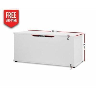 Furniture Keezi Kids Blanket Toy Box Storage Chest White