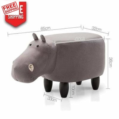 Furniture Keezi Kids Hippo Animal Stool - Grey