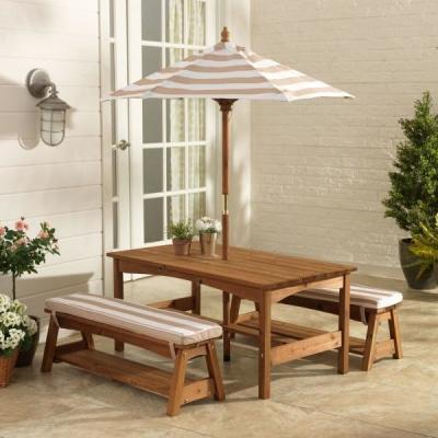 Furniture Kidkraft Outdoor Table and Bench Set with Cushions, Umbrella - Oatmeal & White Stripes