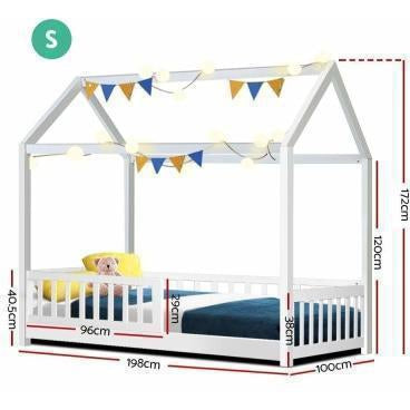 Furniture Rock Wooden Kids House Bed Frame Single Size White