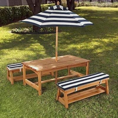 Kidkraft Outdoor Table Bench Set with Cushions & Umbrella
