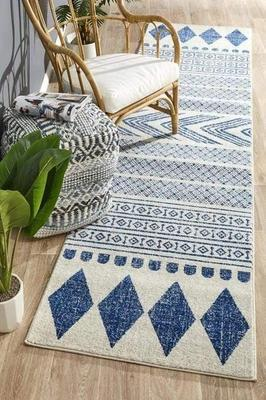 MODERN Mirage Adani  Modern Tribal Design Navy Runner Rug