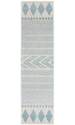 MODERN Mirage Adani  Modern Tribal Design sky Blue Runner Rug