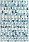 Mirage Illusion Modern Geo Blue Ivory Floor Rug