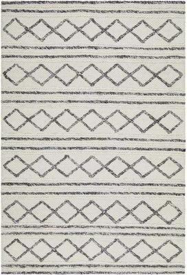 MODERN Studio Milly Textured Woollen Floor Rug White Grey