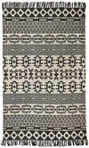 Zulu Totemic Flock Black Floor Rug