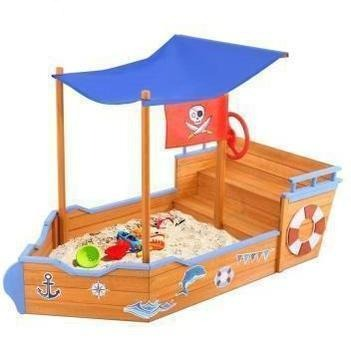Outdoor Toys Keezi Boat Sand Pit With Canopy