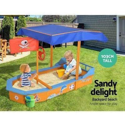 Outdoor Toys Keezi Boat shaped Canopy Sand Pit