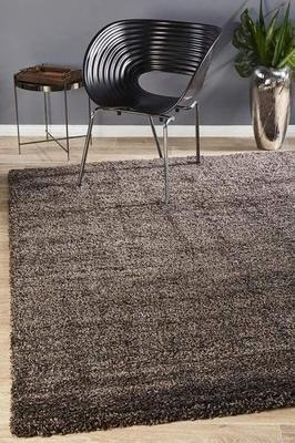 SHAG Pandora Collection Thick Soft Polar Brown Shag Floor Rug