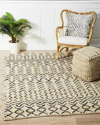 TRADITIONAL Kenya Elki Hand Woven Tribal Jute Floor Rug